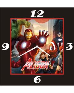 Avengers square clock With Name