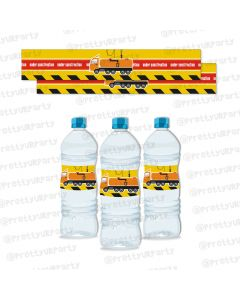 construction theme water bottle labels