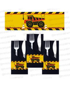 construction theme  napkin rings