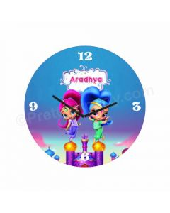 Personalized Shimmer and Shine Clock - Round
