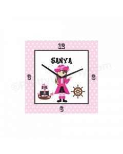 Personalized Girly Pirate Clock - Square