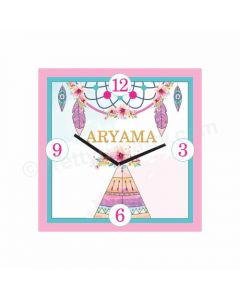 Personalized Boho Clock - Square