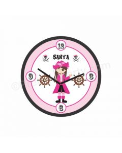 Personalized Girly Pirate Theme Clock - Round