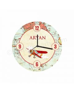 Personalized Travel Theme Clock - Round