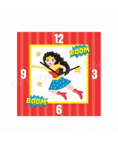 Personalized Wonder Woman Clock - Square