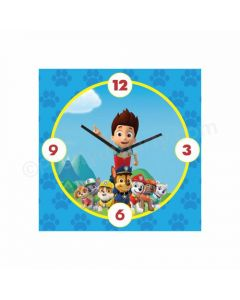 Personalized Paw Patrol Blue Clock - Square