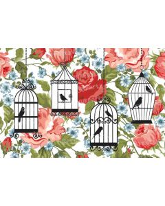 Red Floral with multi bird cage Placemats