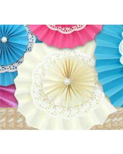 Off White Rosette Paper Fans with Doily