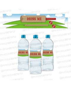 cricket theme water bottle labels