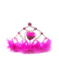 Crown with Feather - Dark Pink