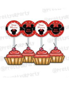 Red Minnie Mouse Inspired Cupcake Toppers