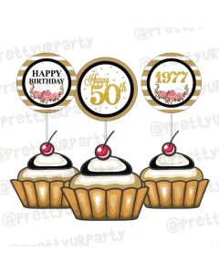 Milestone Birthday Theme Cupcake / Food Toppers