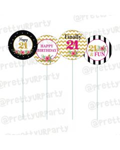 21st Birthday Theme Cupcake / Food Toppers