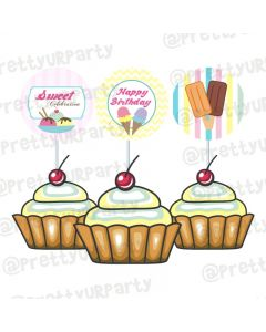 Ice Cream Theme Cupcake / Food Toppers