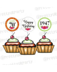 70th Birthday Theme Cupcake / Food Toppers