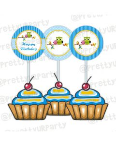 Owl Theme Cupcake Food Toppers