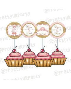 Pink and Gold Ballet Cupcake Toppers