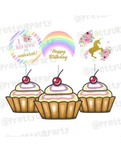 Unicorn Theme Cupcake / Food Toppers