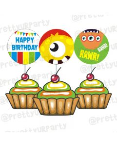 Monster Theme Cupcake / Food Toppers