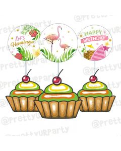 Flamingo Theme Cupcake / Food Toppers