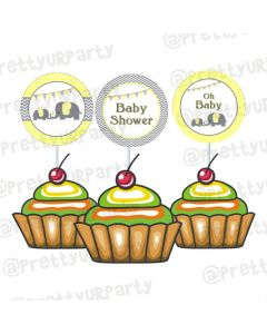 Elephant Baby shower cupcake toppers/ food toppers