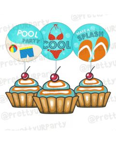 Splash Pool Party Theme Cupcake / Food Toppers