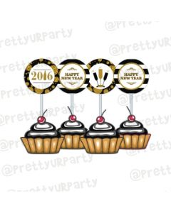 Gold and Black New Year Cupcake / Food Toppers