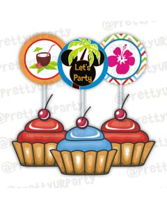 Mickey Mouse Luau Cupcake Toppers