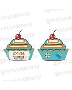Splash Pool Party Theme Cupcake Wrappers