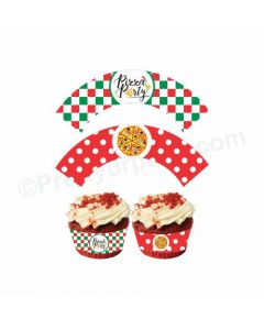 Pizza Party Theme Cupcake Wrappers