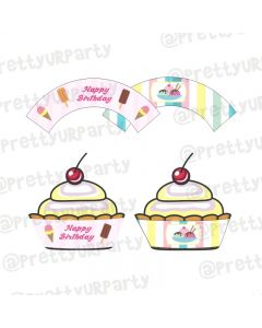 Ice Cream Theme Cupcake Wrappers
