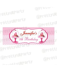 Personalized Cupcake Birthday Banner 36in