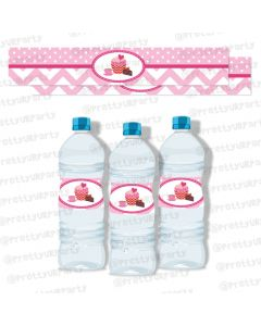 cupcake theme water bottle labels