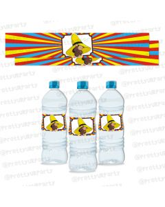 curious george theme water bottle labels