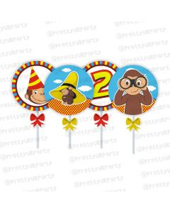 curious george theme cupcake / food toppers