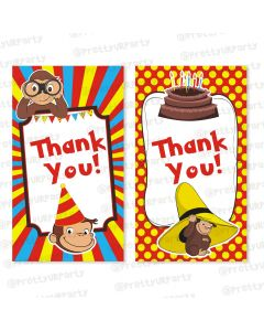 curious george theme thankyou cards