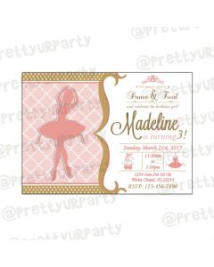 Pink and Gold Ballet Invitations