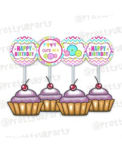 Cute As a Button Cupcake / Food Toppers