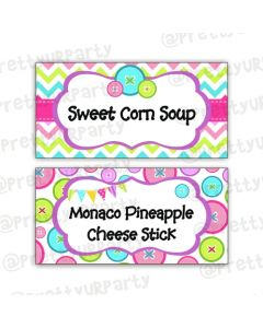 Cute As a Button Food Labels / Buffet Table Cards