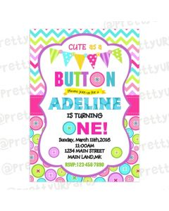 Cute As a Button Invitations