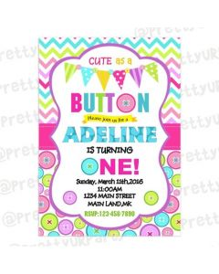 Cute As a Button  E-Invitations