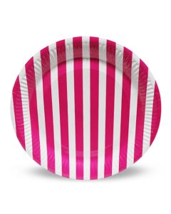 Dark Pink Stripes Paper Plates