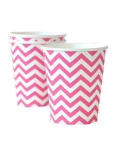 Dark Pink Chevron Paper Cups