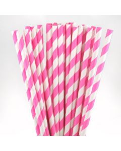 Dark Pink Striped Paper Straw