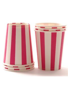 Dark Pink Stripes Paper Cups
