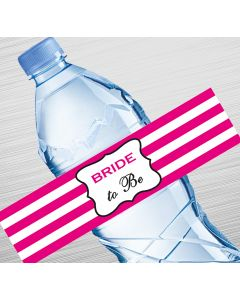 Pink Stripes Bride to Be Water Bottle Labels