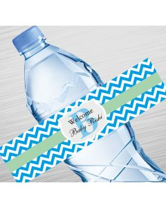 Chevron with Initials Design Water Label