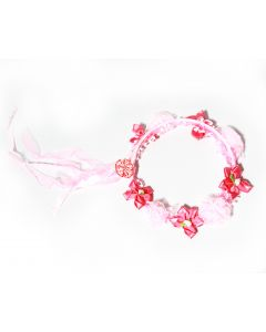 Pink Roses with Red Flower Tiara
