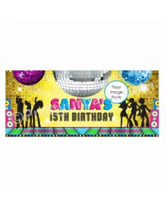 Personalized Disco Party Theme Banner 30in