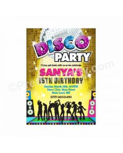 Disco Party Theme Invitations